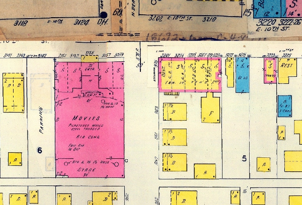 The 1915 Sanborn Map shows both the Rivoli Theatre and the Dearborn Building. Three small residential dwellings, one flat, and one garage were originally constructed behind the Dearborn. They later disappeared in the 1980s.