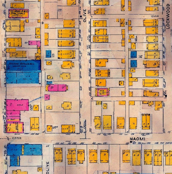 The 1914 Sanborn Map shows that the area surrounding Olive Street has greatly expanded. 1838 Olive St., however, was just one of a few brick buildings in the area. (The home is depicted as the pink dwelling in the center-left.)