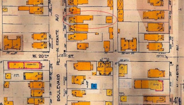 "The 1915 Sanborn Map is the first map to use the label ""Boulevard Place."""