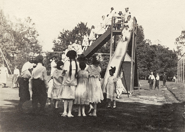 Children taking turns going down the slide in Garfield Park in 1932 (Bass Photo Co., INDIANA HISTORICAL SOCIETY)
