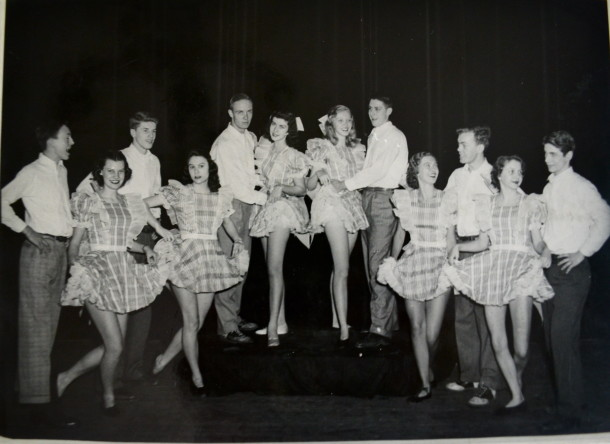 Joanie (2nd girl from left) danced in Shortridge's annual SOMETHING. Courtesy of Joanie Nichols.