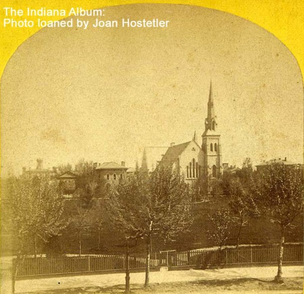 View looking north at University Park and Second Presbyterian Church, ca. 1873 (Courtesy of the Indiana Album, stereoview loaned by Joan Hostetler)