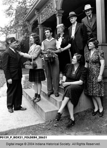 American Legion's Poppy Sales, 1942, Indiana. HISTORICAL SOCIETYYY.