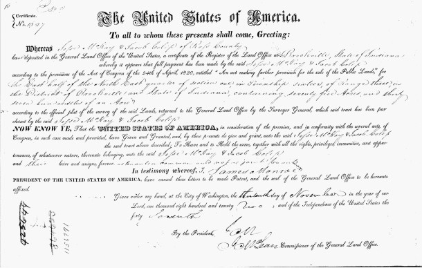 1822 Land Patent issed to McKay and Colip for property in Township 16 Range 3 (document courtesy of Ancestry.com)