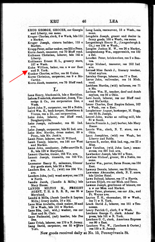 1863 Indianapolis City Directory lists William Kuhn operating a bakery, as well as living, on the northwest corner of New York and East Streets (scan courtesy of Ancestry.com)