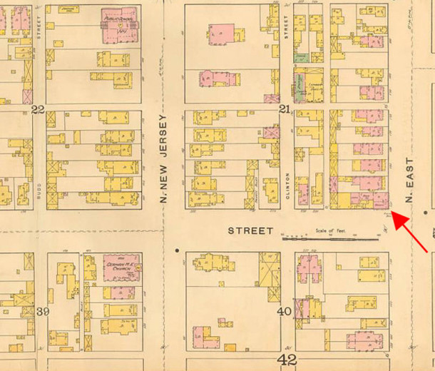 1887 Sanborn map shows the footprint of the building on the northeast corner of East and New York Streets (map courtesy of IUPUI Digital Library)