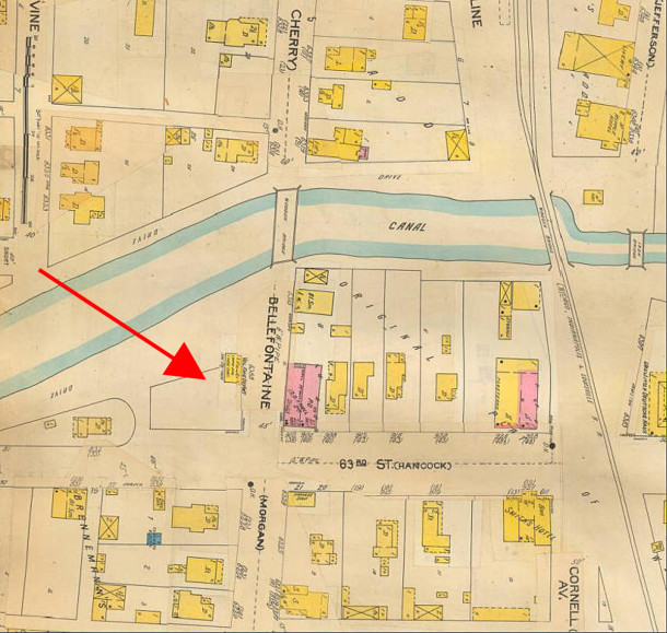 1898 Sanborn map shows a Volunteer Fire Department on the property (map courtesy IUPUI Digital Library)