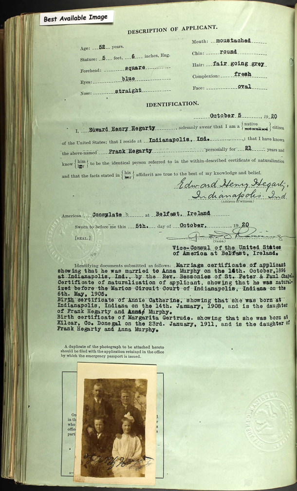 Second page of Frank Hegarty's passport application with photo of family (document courtesy of Ancestry.com)