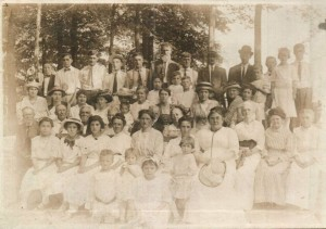 A turn-of-the-last-century Sunday School picnic on the Union Chapel Grounds. See document to the right for names. Click image to enlarge.
