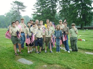 Indianapolis Boy Scout Troop 18, directed by Broadripple VFW Post 6540, identifies the graves of veterans and marks them with a flag on Memorial Day every year.