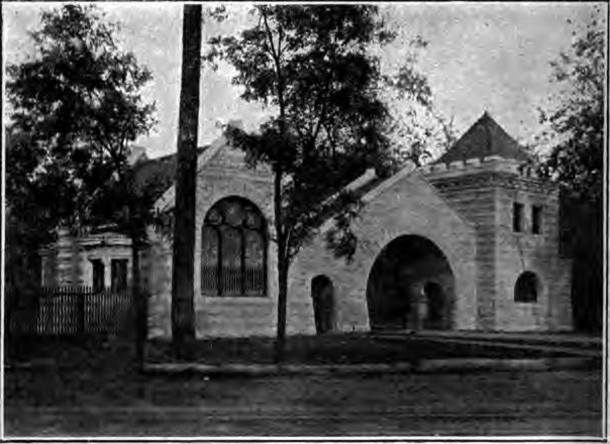 A southwest entrance to Crown Hill Cemetery was erected in 1904, but had to be elimnated when Interstate-65 was built (photo courtesy of The 1902 Journal Handbook of Indianapolis)