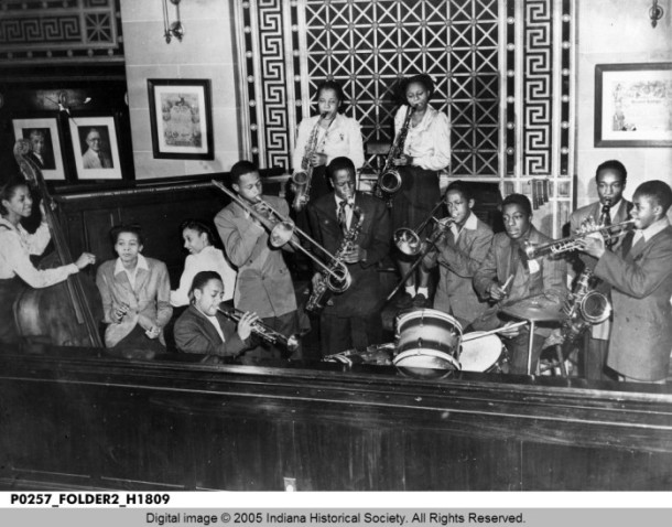 The Duke Hampton family band playing in a club on Indiana Avenue. (Indiana Historical Society).
