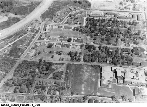 Aerial photograph between 11th (bottom of the picture) and Ransom St. (top), and Fall Creek and West St. School 17 is at the bottom right, adjacent to Crispus Attucks. Walter lived at the end of the football field.
