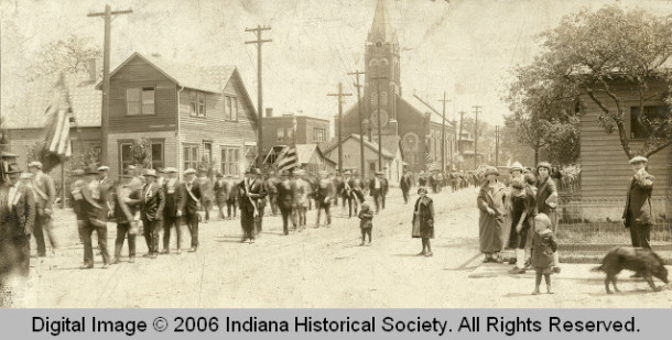 Haughville parade in the 20s. INDIANA HISTORICAL DFLKSDJFLSKDJF.