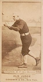 """George W. Shafer's nickname was """"Orator"""" because he was known as a very talkative fellow. Orator had outstanding defensive skills. Four times he led the National League outfielders is assists. He held the MLB single season record for the most assists in 1879 with 50 – a record that held for over 130 years."""
