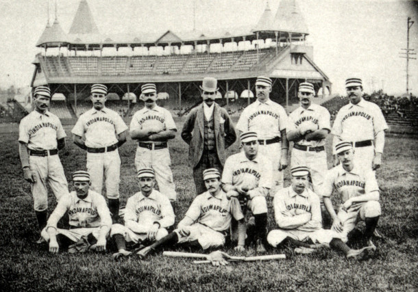 """The 1888 Indianapolis Hoosiers – In 1886, John T. Brush bought the St. Louis Maroons, move them to Indianapolis, and renamed them """"Hoosiers"""". This was the second major league team to carry the Hoosiers name. The team folded in 1889. Soon after, Brush obtained the Cincinnati Reds in 1891 and owned them until 1902. He also owned the New York Giants from 1890 until his death in 1912. Brush was instrumental in developing the rules for the World Series which are still used."""