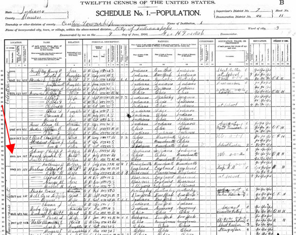 At the time of the 1900 Census, the parents of the widowed Isabelle French were living with her at 2202 Talbott Avenue (image courtesy of Ancestry.com)