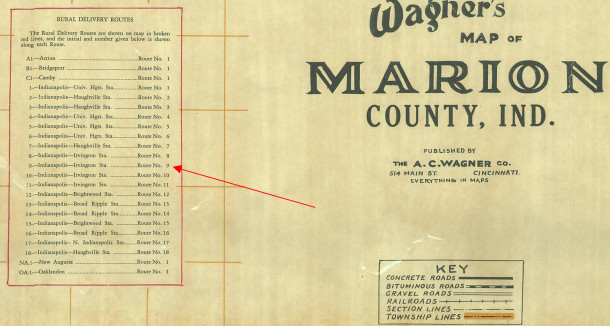 Five Points was located in Rural Route 9, which was delivered out of the Irvington Post Office (1931 Wagner map courtesy of Indiana State Library)