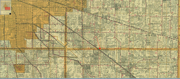 1931 Map of Marion County indicates the Rural Route areas with numbers in red (map courtesy of Indiana State Library)