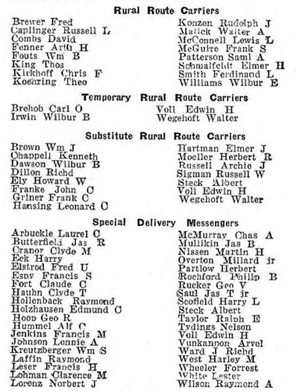 USPS Rural Route Carriers and Special Delivery Messengers, as listed in the 1945 R.L. Polk & Company Indianapolis City Directory (courtesy of IUPUI Digital Library)