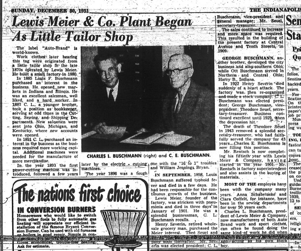 1951 IndyStar article about the Buschmann family's involvement in Lewis Meier and Company (scan courtesy of Indiana State Library)