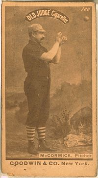 Jim McCormick was a right hander who pitched for nine year in the Major Leagues. He was the first Scotsman to play in Major League Baseball. In the pioneer years of MLB, it was all underhand pitching. McCormick won 40 games in 1879 while playing for Cleveland. The highest number of wins for a pitcher in the National League that year.