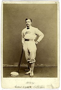 """Nicknamed """"Honest John"""", the Blues were managed by catcher/left fielder/first baseman John Edgar Clapp. Over the course of his 12 years of professional baseball, Clapp played for eight different teams. For six of those teams, he was the player-manager. Clapp was the starting left fielder for the Indianapolis."""