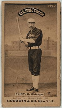 Frank Sylvester Flint better known as Silver Flint played catcher for most of his years in the Major Leagues. He was 19 when he signed with the St. Louis Red Stockings. Flint spent one season with the Indianapolis Blues in 1878. The following year, he joined the Chicago White Stockings where he played out the rest of his baseball career.