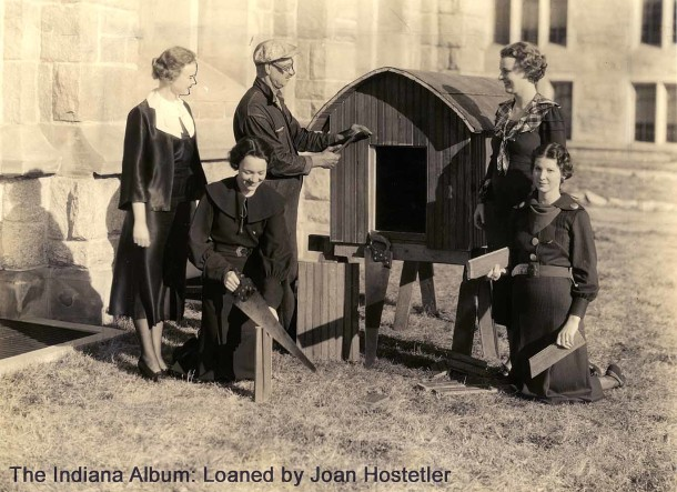 Building a doghouse for Butler's Bulldog, 1934 (The Indiana Album: Loaned by Joan Hostetler)