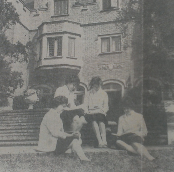 Students at Ladywood School relax on the lawn in 1962.