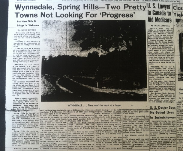 Spring Hill and Wynnedale (neighboring town) want things to stay the same. Indianapolis Times, July 15, 1962, p. 4.