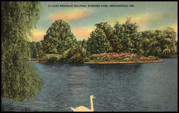 Vintage postcard of Lake Sullivan