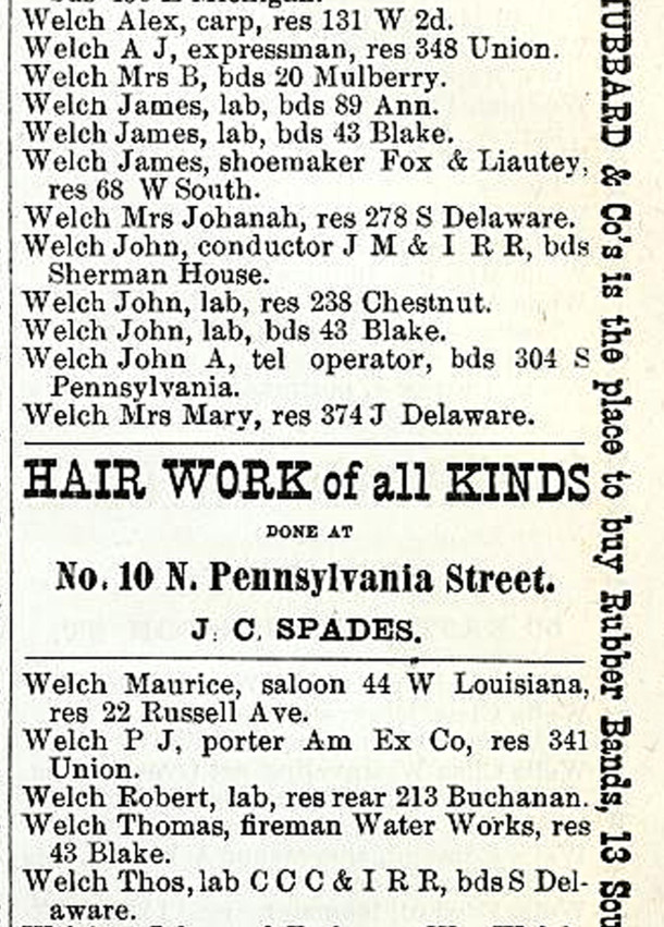 1876 city directory listed James, John, and Thomas Welch at 43 Blake Street (image courtesy of IUPUI Digital Archives)