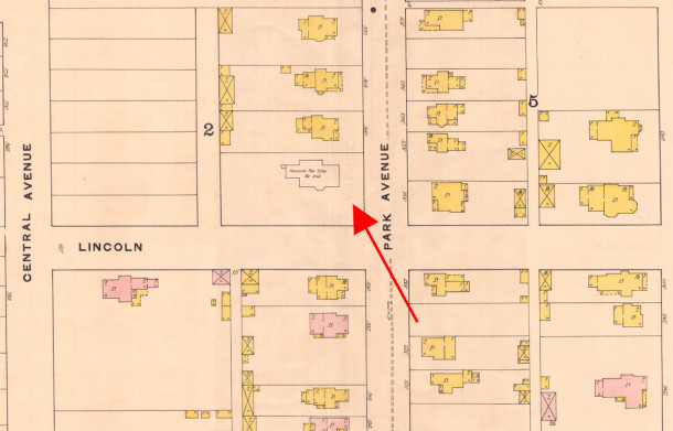 1The 1887 Sanborn map shows the foundation for a new home (map courtesy of IUPUI Digital Archives)