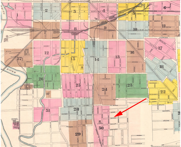 1887 map shows the original blocks that were called Downey, from Madison Road (now Avenue) to Japan (now East Street) (1887 Sanborn map courtesy of IU Bloomington Digital Archives)