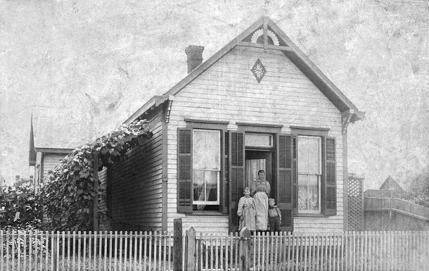 L to R: Mamie (Jasper) Wallman, Christina (Sinker) Jasper, and Herman/Harry Jasper in front of 411 Downey Street circa 1895 (photo courtesy of Lyle J. Mannweiler)