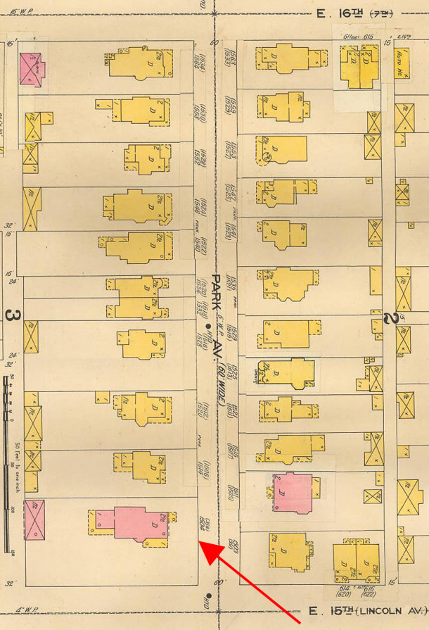 The 1898 Sanborn map shows the address changes for each property (courtesy of IUPUI Digital Archives) CLICK TO ENLARGE