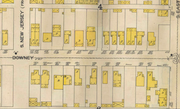 1898 Sanborn map shows the former addresses of properties in parentheses (Sanborn map courtesy of IUPUI Digital Archives)