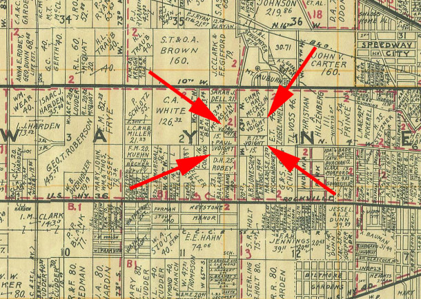 The four red arrows on this 1931 Wagner map point to the Voight family's four parcels of land that became Westlake Beach (1931 Wagner map courtesy of Indiana State Library)