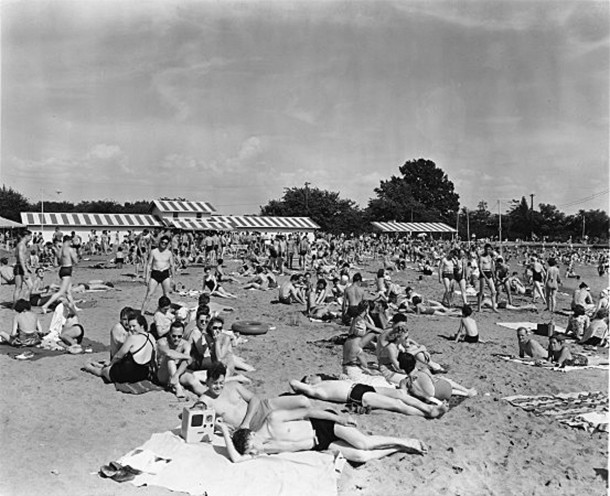 1930 photo of Westlake Beach (Bass Photo Company Collection, Indiana Historical Society)
