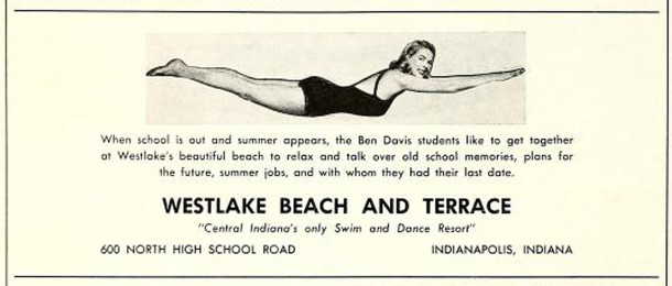 Display ad from the 1954 Ben Davis High School yearbook, Keyhole (image courtesy of classmates.com