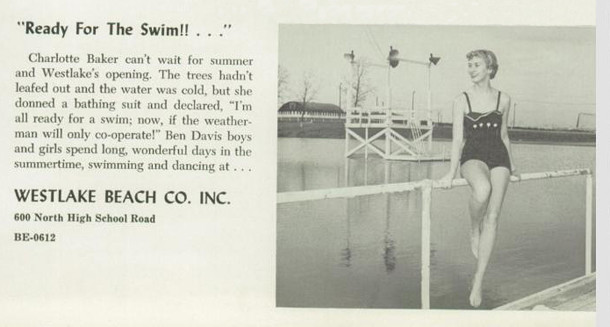 Dispaly ad from the 1955 Ben Davis High School yearbook, Keyhole (image courtesy of classmates.com)