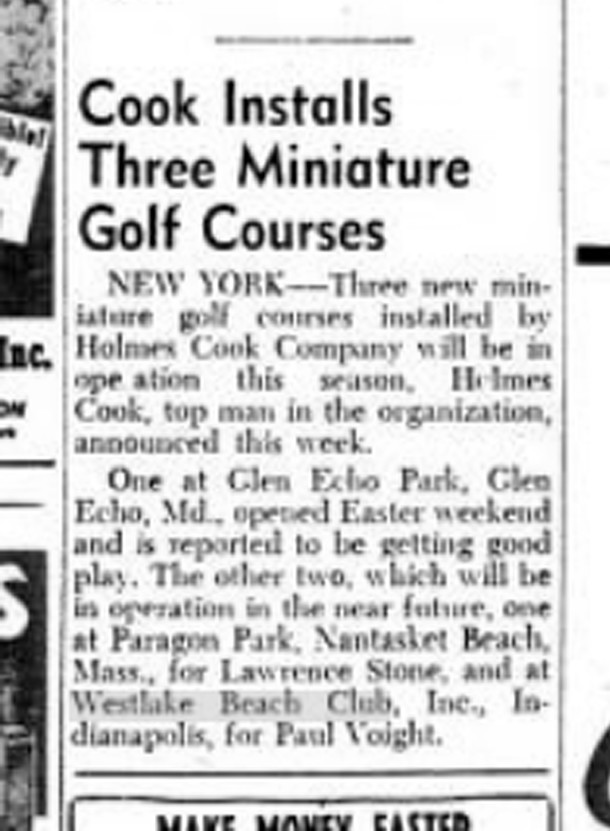 May 12, 1956, blurb in Billboard Magazine announced the installation of the minature golf course (image courtesy of Indiana State Library)