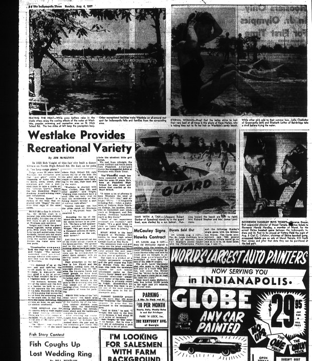 A 1957 article in The Indianapolis Times discussed Westlake's recreational facilities (newspaper scan courtesy of Indiana State Library)
