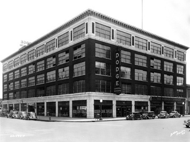 1935 image of the Gibson Company Building (Bass Photo Company Collection, Indiana Historical Society)
