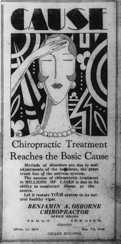 Sunday Adverts: Benjamin A. Osborne, Chiropractor