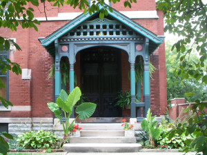 The entry to the 125-year-old residence it ornate (photo by Sharon Butsch Freeland)