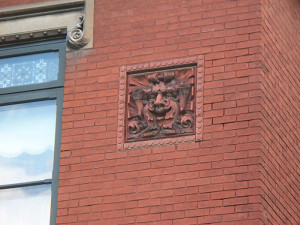 Detail in the brickwork includes a gargoyle (photo by Sharon Butsch Freeland)
