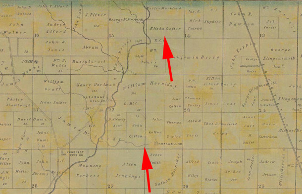 1855 Condit, Wright & Hayden map shows parcels of land owned by Elisha Cotton and John Cotton (courtesy of Indiana State Library)