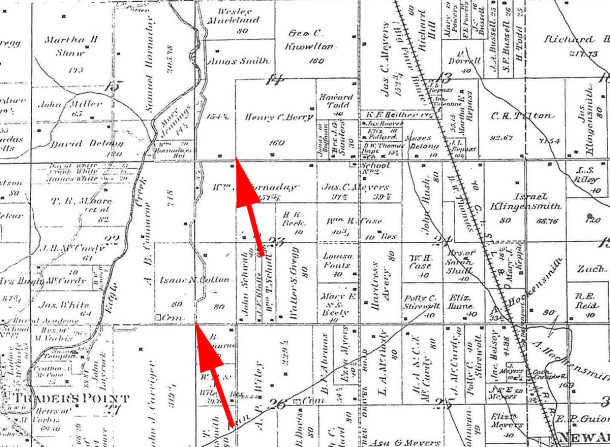 1889 Atlas of Indianapolis and Marion County with arrows pointing to Isaac Cotton and former Elisha Cotton land (map courtesy of Indiana State Library)